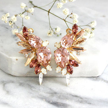 Bridal Earrings, Blush Earrings, Blush Pink Statement Earrings, Bridal Climbing Earrings, Crystal Ear Crawler Earrings, Trending Jewelry
