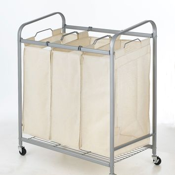 Heavy-Duty 3-Bag Laundry Sorter Cart Hamper Organizer LS03 Beige