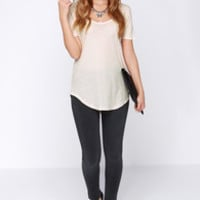 Obey Patti Beige Scoop Neck Tee