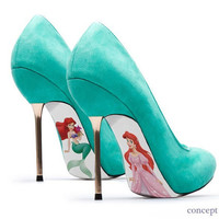 Custom hand painted Little Mermaid pumps by AshtonAtelier on Etsy