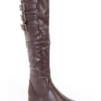 Brown Buckled Strappy Riding Boots Faux Leather