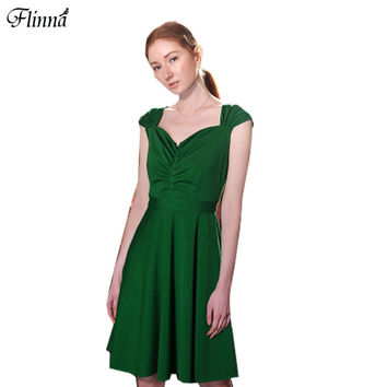2017 Summer Party Sexy Dress Women LA LA LAND Miya Vintage Dark Green Slim V-Neck Backless Princess Party Elegant Dresses Women
