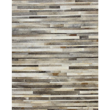 Bashian Rugs Striations Cowhide Hand-Stitched Rug - Grey