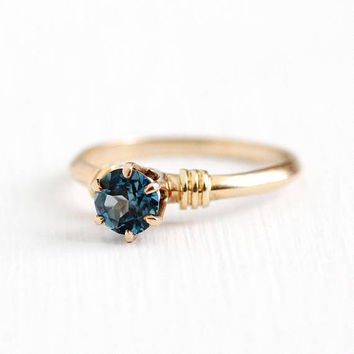 Antique Topaz Ring - 10k Rosy Yellow Gold Genuine Blue Topaz Gem Solitaire - Size 5 1/2 Vintage Signed WWW White Wile Warner Fine Jewelry