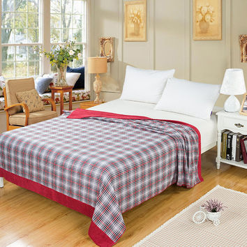 Bed blanket cotton knitted plaid pattern - 2 color