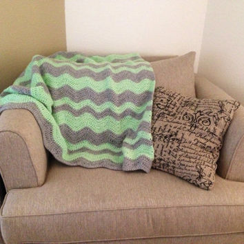 Mint and Grey Crochet Ripple Chevron Baby Blanket