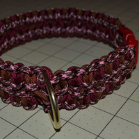 """Maroon, Brown and Pink hand made collar for red dog, 18"""""""