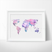 World Map 6 Watercolor Art Print