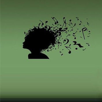 Musical Notes Music in the Hair Wall Art Sticker Decal D216