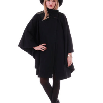 Black Wool Cape Winter Goth Minimalist Draped Avant Garde Fall Fashion Street Style 80s 90s Vintage Clothing Womens One Size Fits All OS
