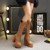 Lace Up Round Toe High Chunky Heels Platform Long Boots