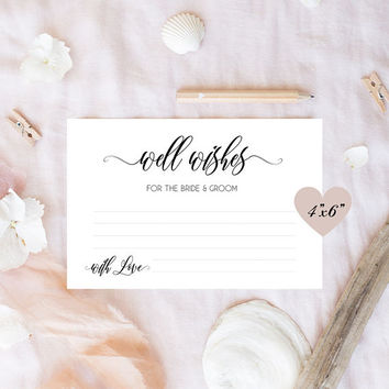 Wedding wishes for the bride and groom cards, Wedding wishes cards, Wedding day wishes - 4x6 printable cards, Advice for the bride and groom