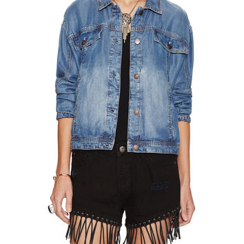Free People Women's Denim Swing Jacket - Blue -
