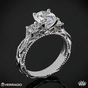 18k White Gold Verragio Beaded Twist 3 Stone Engagement Ring