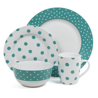 Isaac Mizrahi Dot Luxe Teal 16-piece Dinnerware Set