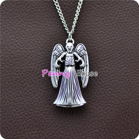 Doctor Who Inspired Weeping Angel Double Sided Metal Pendant Chain Necklace