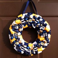 WVU Wreath West Virginia Mountaineers Football Ribbon