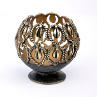 Handmade Votive Tealight Holder / Candle Lantern in Bronze Metal with a Retro, Primitive/Rustic Tribal Look