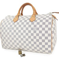 Tagre™ Authentic LOUIS VUITTON Speedy 35 Damier Azur Boston Hand Bag Purse #25899