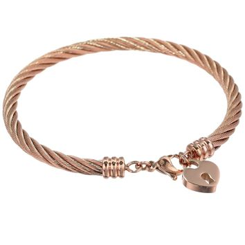Stainless Steel Bangle Bracelet with Heart Lock Charm and Rose Ion Plating