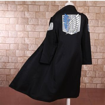Cool Attack on Titan Anime no  Levi Rivaille Jacket Cloak Adult Halloween cosplay costume  Windbreaker Black AT_90_11