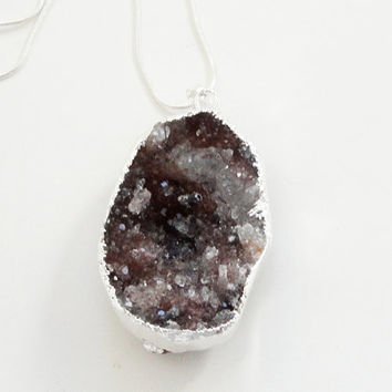Grey Brown Druzy Agate Dipped In Silver Pendant, Drussy Druzzy Stone Pendant necklace, Select With Or Without Chain