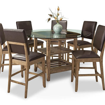 Cordova Glass & Wood Counter Dining Set