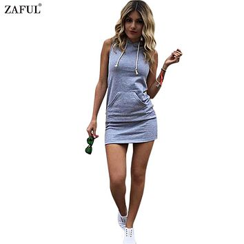 ZAFUL Women Summer Hooded Drawstring Dress Gray Sleeveless Straight Solid Color S~XL Feminino Vestidos Girls Casual Pocket Dress