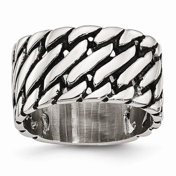 Men's Stainless Steel Tread Design Ring - Engravable Personalized Gift Item