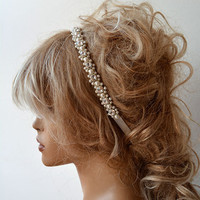Wedding headbands, Wedding hair Accessory, Bridal Headbands, Rhinestone and Pearl  headband, Wedding Accessories