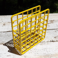 Yellow Desk Organizer 1980's Mail Holder Office Sorter File Storage Card Rack Letter Display Home Decor Painted Furniture Vintage Checkered