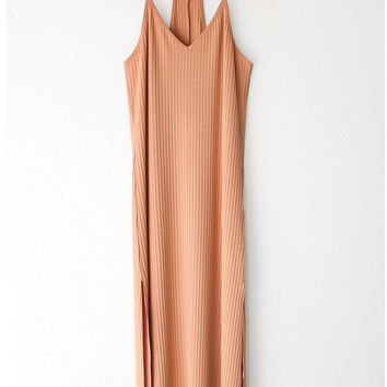 Peach Ribbed V-neck Cami Maxi Dress