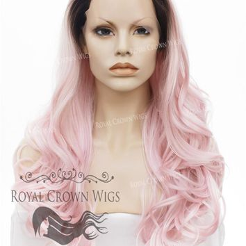 "26 inch Heat Safe Synthetic Lace Front ""Constance"" with Curly Texture in Rooted Pink"
