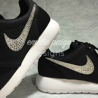 Nike Roshe Run (Black) running shoes with Swarovski Crystals