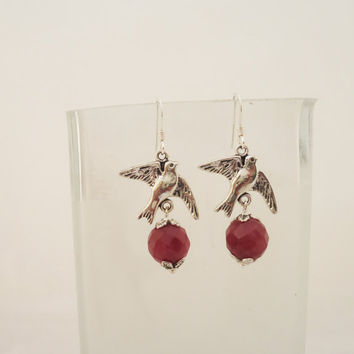 Ruby Earrings, Earrings in Red, Gemstone Earrings, Birds Earrings, Sterling Silver Earrings
