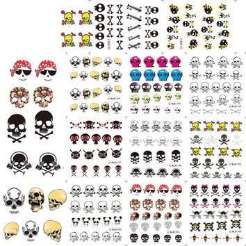 1sets 11design Halloween Designs Cools & Lovely Stickers Skull Bone Nail Art Water Transfer Decals DIY Tattoos BLE1192-1202
