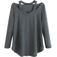 Dark Gray V-Neck Long Sleeve T-shirt