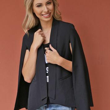 West Coast Wardrobe  City Chic Cape Blazer in Black