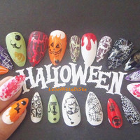 haloween fake nails halloween costume stiletto make up pointy nails cosplay drag queen false nail almond pointy halloween lasoffittadiste