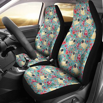 Pug Flower Car Seat Covers