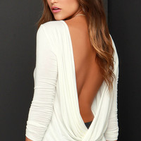 Walk Twist Way Ivory Long Sleeve Top