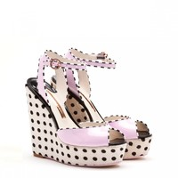Chloe Pink Leather and Black and White Polkadot Pony Wedge