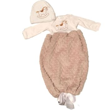 Brown Rocking Horse Soft Fleece Infant Baby Gown and Hat