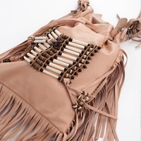 Clothes Online | BLUSH BONE & TASSLE BAG || SPELL DESIGNS & THE GYPSY COLLECTIVE - WOMEN - ACCESSORIES - BAZAAR