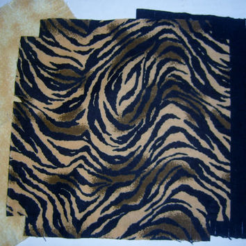 "Baby Flannel rag quilt kit Tiger Zebra stripe kids nursery fringed die cut fabric squares batting  ready to sew 39""x39"" quilting shower gift"
