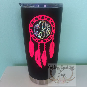 Dream catcher monogram decal custom decal boho tribal yeti decal car decal