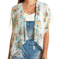 Sheer Floral Print Kimono Top by Charlotte Russe - Ivory Combo