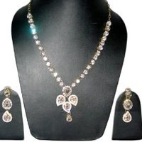 Gift for Mom- Silver White Kundan Stone Pendant Necklace Set with Earrings Fashion Jewelry