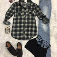 Penny Plaid Flannel Top: Steel Grey/Ivory