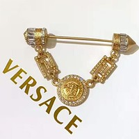 Versace Fashion new human head more diamond brooch women accessory Golden